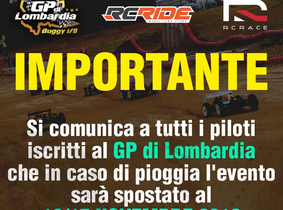 EVENTUALE DATA DI RECUPERO PER IL GP DI LOMBARDIA 2019